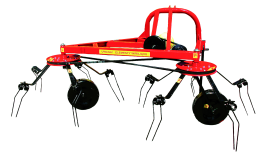 Two-rotor carousel tedder